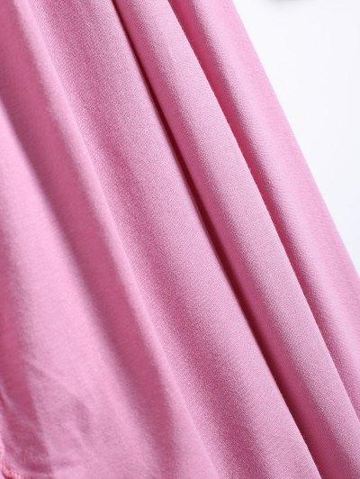 Long Sleeve Irregular Hem Long Cardigan - PINK 2XL Mobile