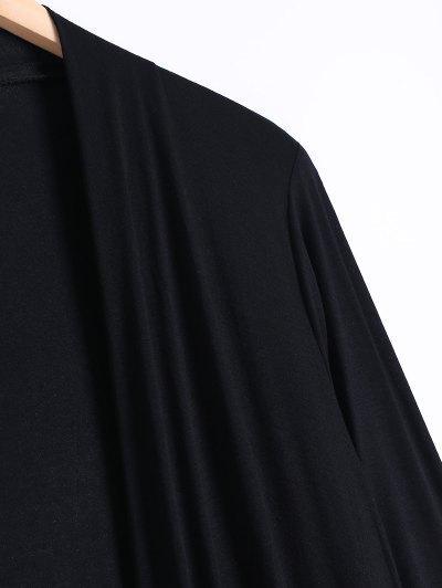 Long Sleeve Irregular Hem Long Cardigan - BLACK M Mobile