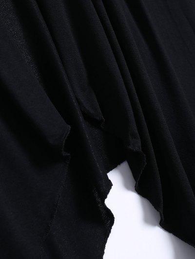 Long Sleeve Irregular Hem Long Cardigan - BLACK L Mobile