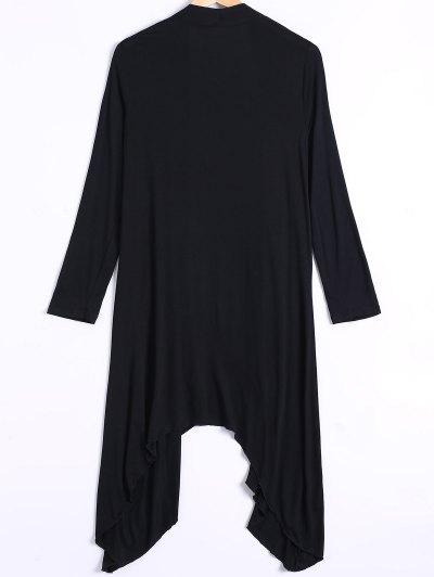 Long Sleeve Irregular Hem Long Cardigan - BLACK XL Mobile
