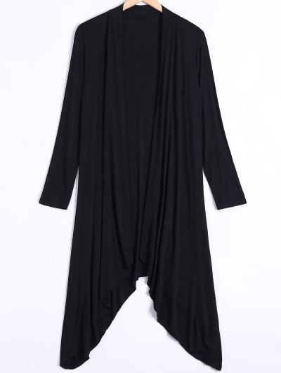 Long Sleeve Irregular Hem Long Cardigan - BLACK 2XL Mobile