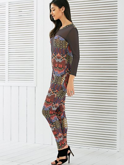 Long Sleeve Mesh Spliced Printed Jumpsuit - MULTI S Mobile