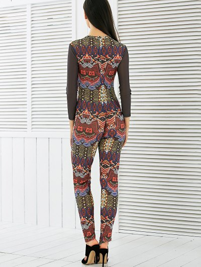 Long Sleeve Mesh Spliced Printed Jumpsuit - MULTI M Mobile