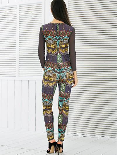 See-Through Mesh Spliced Printed Jumpsuit - COLORMIX S Mobile