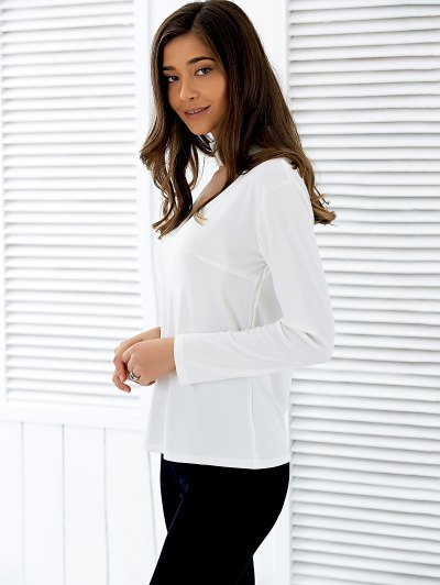 Stand Neck Long Sleeve Cutout T-Shirt - WHITE XL Mobile