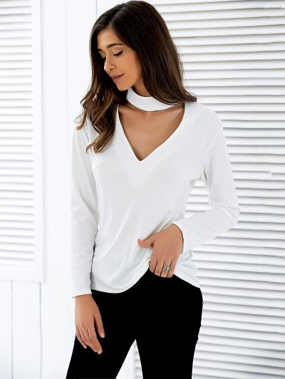 Stand Neck Long Sleeve Cutout T-Shirt - WHITE L Mobile