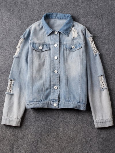 Point Collar Ripped Denim Jacket - Light Blue