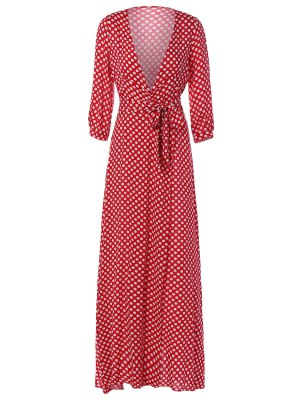 Polka Dot Maxi Plunge Dress - Red