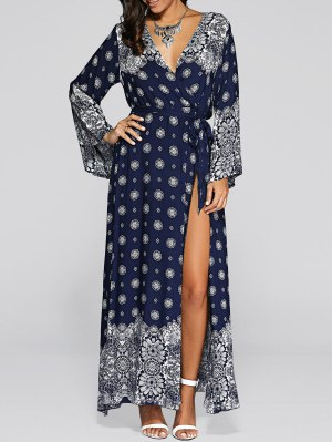 Bell Sleeve High Slit Maxi Boho Wrap Dress - Blue