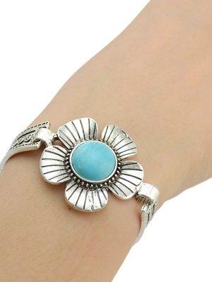 Fake Turquoise Floral Bracelet - Silver