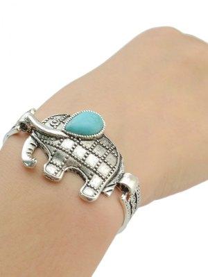 Elephant Fake Turquoise Etched Bracelet - Silver