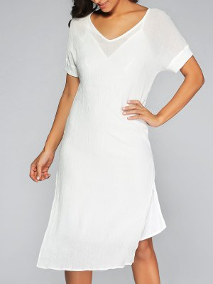 See-Through High Slit Cover Up Dress And Cami Dress - White