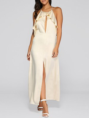 Open Back Slit Evening Dress - Golden