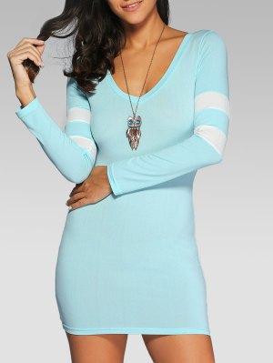 V Neck Stripes Bodycon T Shirt Dress - Light Blue