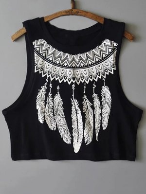 Feather Print Cropped Tank Top - Black