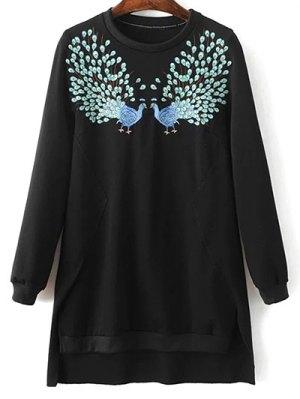High Low Embroidered Sweatshirt - Black