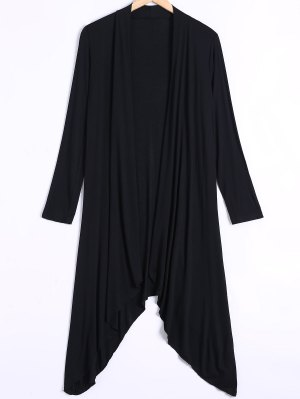 Long Sleeve Irregular Hem Long Cardigan - Black