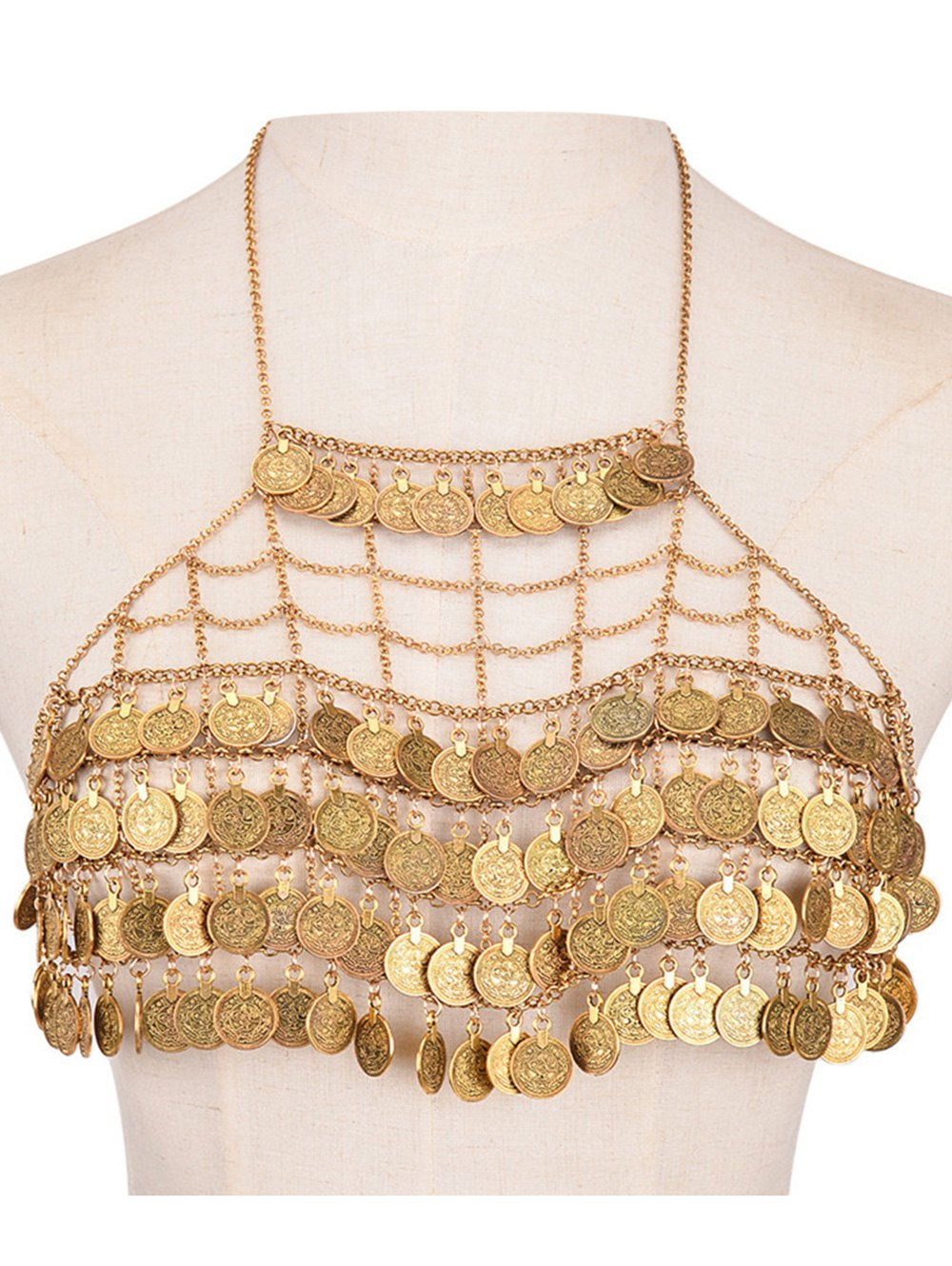 Tiered Gridding Engraved Coins Body Chain