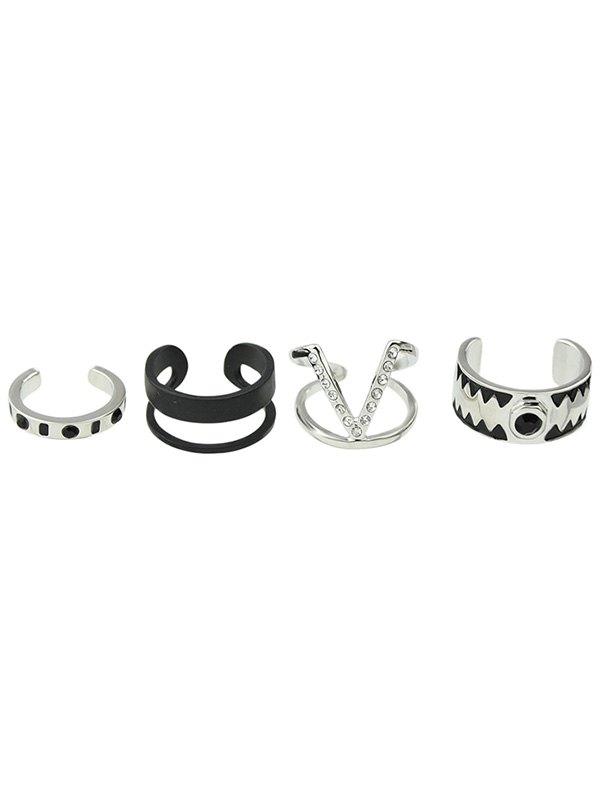 Punk Alloy Rhinestone V-Shaped Cuff Rings