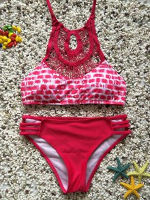 Cutout Halter Lattice Bikini