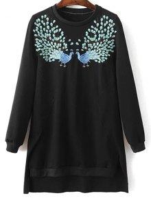 High Low Embroidered Sweatshirt - Black L