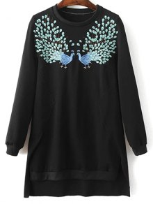 High Low Embroidered Sweatshirt
