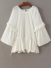 Buy Flare Sleeve Round Collar Flounced Blouse - WHITE ONE SIZE