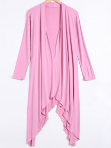 Long Sleeve Irregular Hem Long Cardigan - Pink Xl