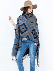 Open Front Plaid Wave Design Tassel Pashmina - Blue