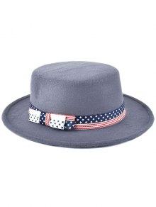 Buy Star Striped Bowknot Flat Top Fedora Hat -