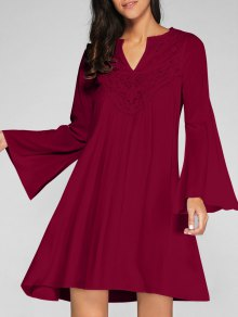 Flare Sleeve Trapeze Dress - Wine Red