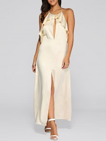 Open Back Slit Evening Dress - Golden M