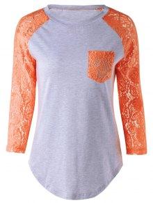 Lace Sleeve Round Neck T-Shirt