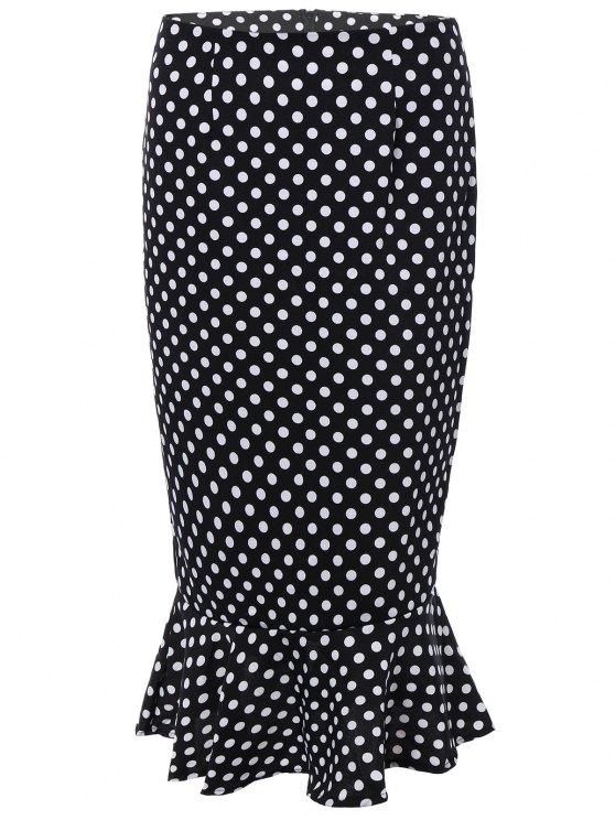High Waisted Polka Dot Mermaid Skirt - BLACK M Mobile