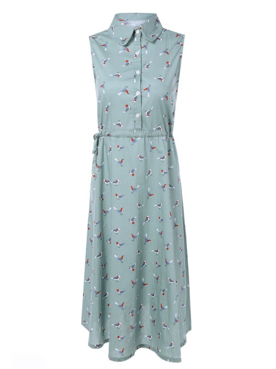 Drawstring Sleeveless Bird Print Shirt Dress - LIGHT BLUE M Mobile