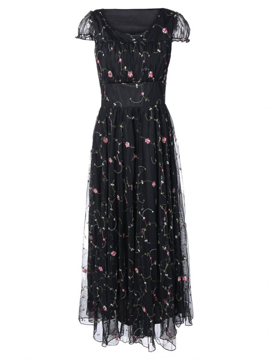 Scoop Neck Floral Embroidered Gauze Dress - BLACK M Mobile