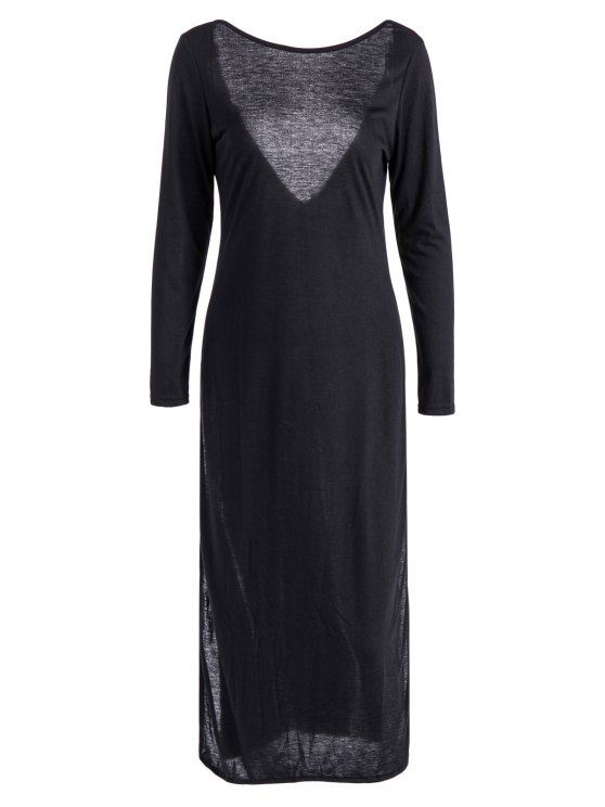 Back Low Cut Long Sleeve High Slit Dress - BLACK XL Mobile
