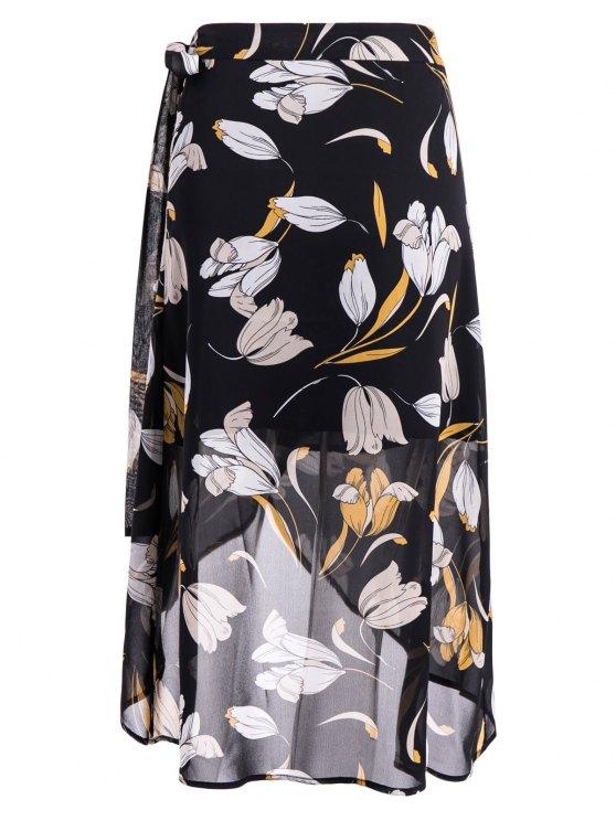 Self-Tie Front Slit Floral Skirt - FLORAL XL Mobile