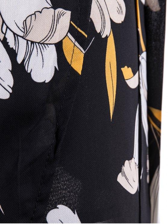 Self-Tie Front Slit Floral Skirt - FLORAL L Mobile