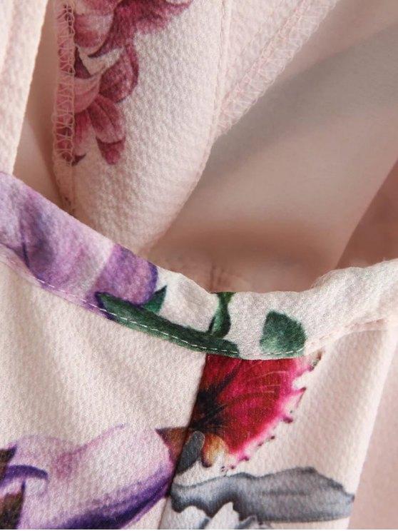 Long Sleeve Floral Plunge Romper - PINK S Mobile