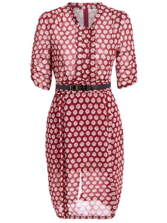 sale V Neck Daisy Print Chiffon Pencil Dress - WINE RED XL