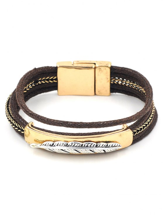 buy Embossed Feather Layered Bracelet - GOLDEN