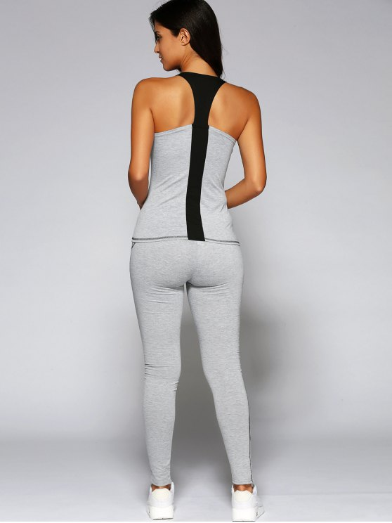 U Neck Sports Tank Top and Leggings - LIGHT GRAY M Mobile