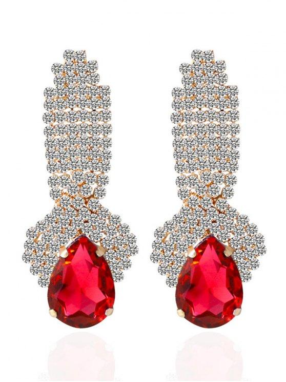 Pendientes de gota de agua falso diamante artificial de la gema - Rojo
