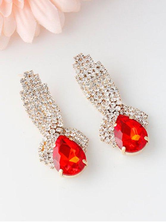 Rhinestoned Faux Crystal Drop Earrings - RED  Mobile