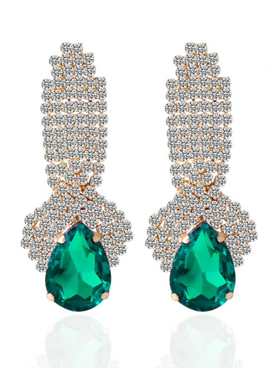 Rhinestoned Faux Crystal Drop Earrings - GREEN  Mobile