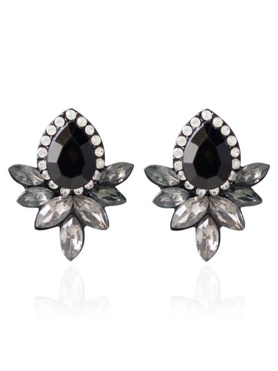 online Water Drop Rhinestone Artificial Crystal Earrings - BLACK