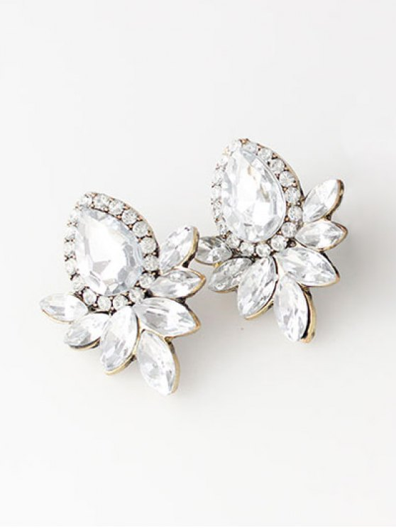 Water Drop Rhinestone Artificial Crystal Earrings - WHITE  Mobile