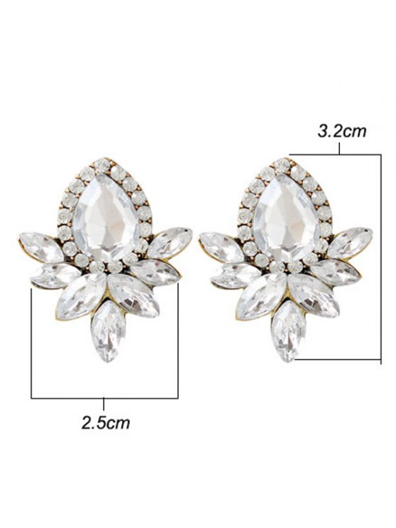 Water Drop Rhinestone Artificial Crystal Earrings - WHITE  Mobile