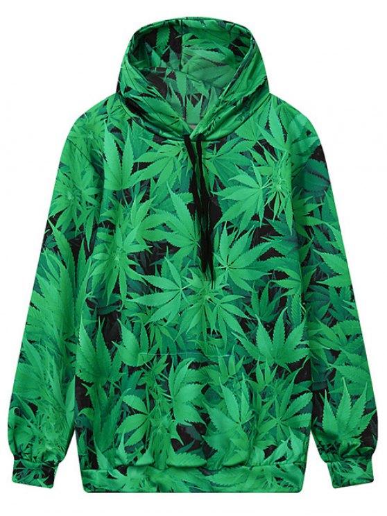 Hoja de bolsillo frontal de impresión con capucha - Verde M